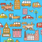 Transporte da cidade Design de padrão vetorial sem costura