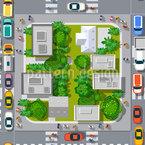 Trânsito da cidade Design de padrão vetorial sem costura