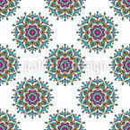 Fröhliche Mandala-Blumen Nahtloses Vektormuster