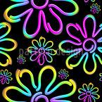 Neon Daisies Seamless Vector Pattern