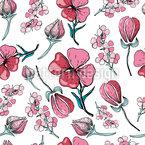 Blüten und Knospen Rapportiertes Design
