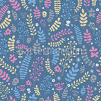 Flowers Leafs And Berries Seamless Vector Pattern