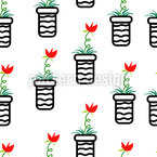 Potted Flowers Seamless Vector Pattern Design