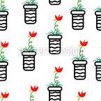 Цветы в горшках Бесшовный дизайн векторных узоров