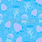 Turtles And Jellyfish Seamless Vector Pattern Design