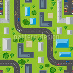Small Town Traffic Seamless Vector Pattern Design