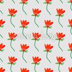 Blume Mit Blatt Nahtloses Vektormuster