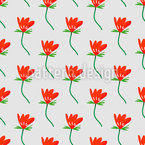 Flower With Leaf Seamless Vector Pattern Design