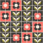 Flowers In Mosaic Style Vector Pattern