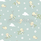 Little Baby Birds Seamless Vector Pattern