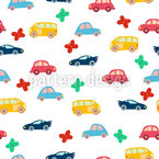 Cute Little Cars Seamless Vector Pattern Design