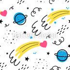 Kometen und Planeten Nahtloses Vektormuster