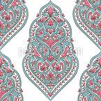 Medalhão Floral Oriental Design de padrão vetorial sem costura