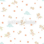 Cute Baby Birds Seamless Vector Pattern Design