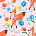 Folk Fox And Flowers Seamless Pattern