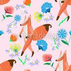 Folklore Fuchs und Blumen Nahtloses Muster