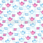 Tea Pots And Cups Seamless Vector Pattern Design