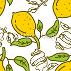 采摘柠檬 无缝矢量模式设计