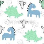 Dinosaurier Und Kakteen Nahtloses Vektormuster