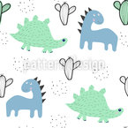 Dinosaurs And Cacti Pattern Design