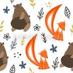Braunbär und Fuchs Nahtloses Muster