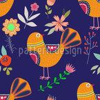 Folklore Vögel und Blumen Nahtloses Vektormuster