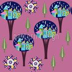 Dorf Im Baum Nahtloses Vektormuster