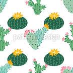 Cactus Flower Seamless Vector Pattern Design