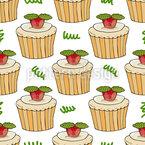 Kuchen Mit Erdbeere Und Minze Nahtloses Vektormuster