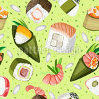 Sushi And Temaki Seamless Vector Pattern