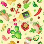 Mexican Food With Maracas Seamless Vector Pattern Design