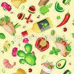 Mexikanisches Essen Mit Maracas Nahtloses Vektormuster