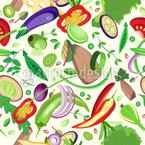Geschnittenes Gemüse Und Fleisch Nahtloses Vektormuster