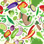 Sliced Vegetables And Meat Seamless Vector Pattern Design