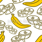 Fatias de banana Design de padrão vetorial sem costura
