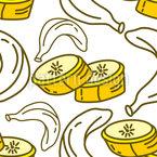 Fatia de banana Design de padrão vetorial sem costura