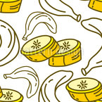 Banana Slice Seamless Vector Pattern Design