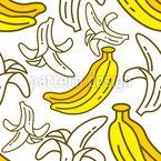 Banana aberta Design de padrão vetorial sem costura