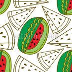 Watermelon Cut Seamless Vector Pattern Design