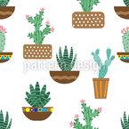 Cactus em pote de cerâmica Design de padrão vetorial sem costura