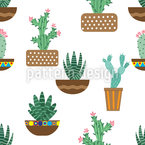 Kaktus Im Keramiktopf Nahtloses Vektormuster