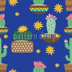Cacti Bloom Seamless Vector Pattern Design