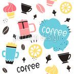 Kaffee Mit Zitronen Und Gewürzen Nahtloses Vektormuster