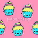 Coole Cupcakes Charaktere Nahtloses Vektormuster