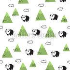 Pandas In Den Bergen Nahtloses Vektormuster