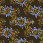 Aster Brown Seamless Vector Pattern Design