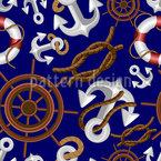 Nautische Marineelemente Rapportmuster