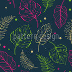 Tropical Leaf Outlines Pattern Design