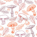 Mushrooms And Oak Leaves Design Pattern