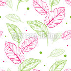 Cute Leaf Outlines Seamless Vector Pattern Design